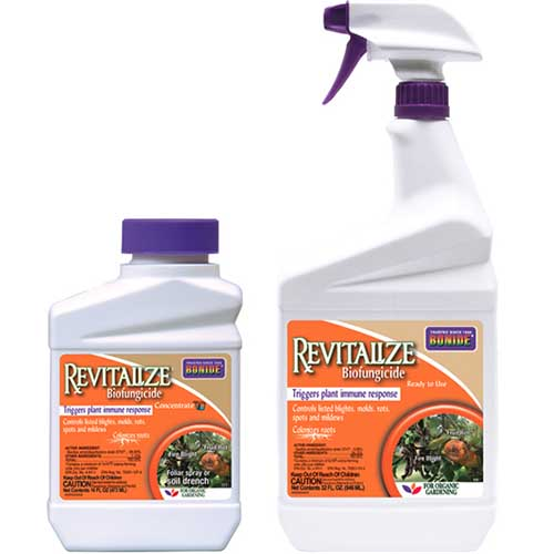 A close up of the packaging of Bonide Revitalize Biofungicide on a white background.