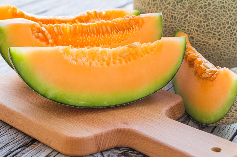 Horizontal image of three slices of cut melon with orange flesh and green rinds, on a wooden cutting board with another slice and a whole fruit to the right on an unfinished wood surface.