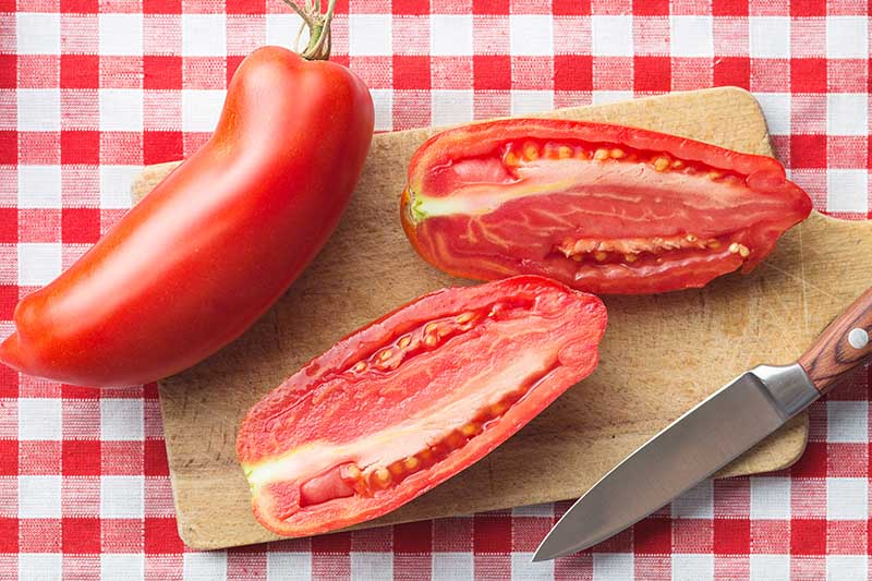 A close up of a large, sliced paste tomato on a wooden chopping board, with a knife to the right of the frame, set on a red and white checked fabric tablecloth.