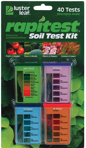 A close up vertical picture of the packaging of the Luster Leaf Rapitest Soil Testing Kit.