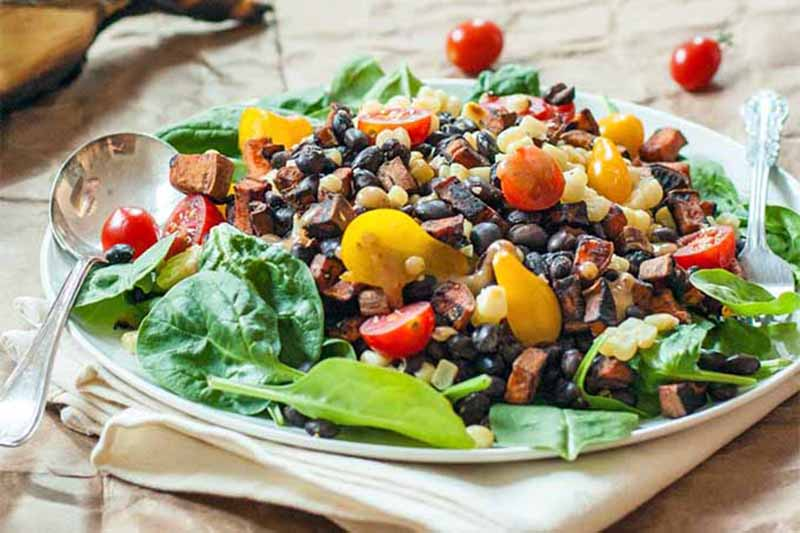 A close up of a white plate with a black bean, tomato, and corn salad with a metal spoon to the left of the frame, set on a white fabric.