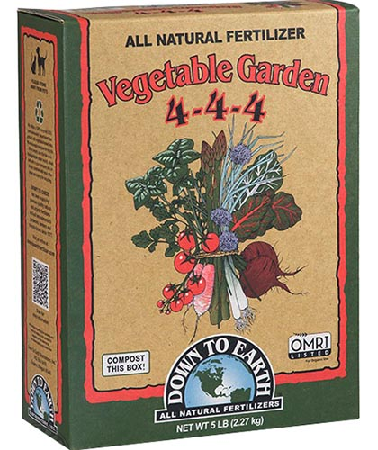 A vertical picture of the packaging of Down to Earth Vegetable Garden All Natural Fertilizer on a white background.