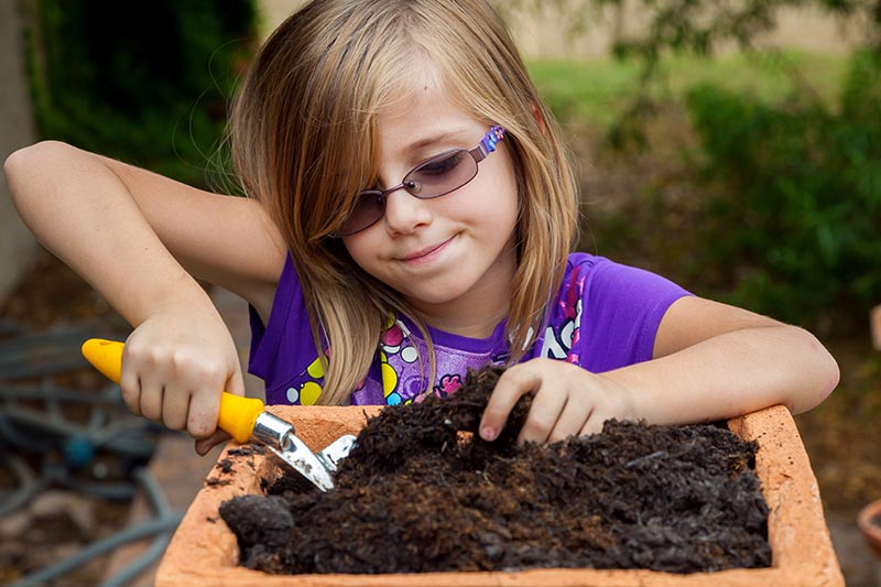 A close up horizontal image of a child preparing rich soil in a square terra cotta container, pictured on a soft focus background.