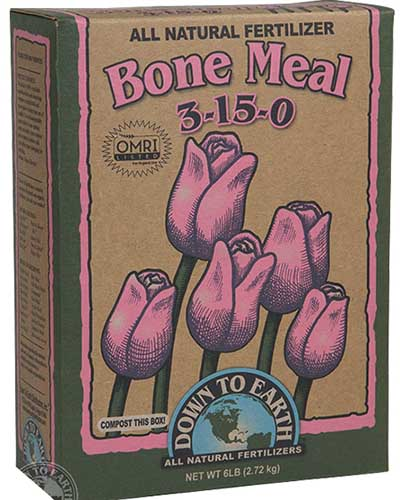 A close up of the packaging of Down to Earth's Granular Bone Meal, pictured on a white background.