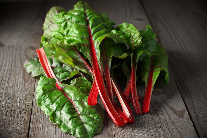 A close up horizontal image of freshly harvested Swiss chard with bright red stems and green leaves set on a wooden surface in dim lighting.