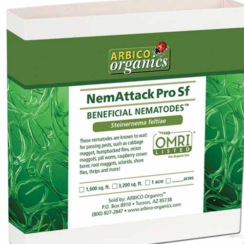 A close up of the packaging of NemAttack Pro Sf Beneficial Nematodes on a white background.