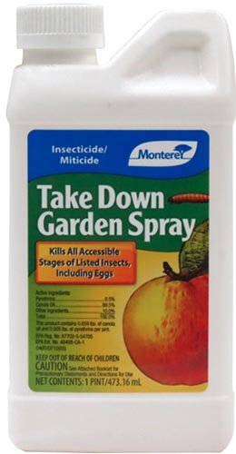 A close up vertical image of the packaging of Monterey Take Down Garden Spray, an insecticide for use on vegetable crops.