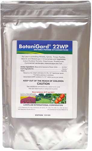 A vertical close up image of the packaging of BotaniGard biological insecticide powder.