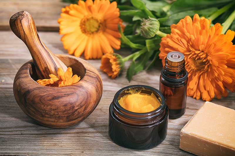 A close up horizontal image of a small pot of salve, a small bottle of tincture, a wooden pestle and mortar, and flowers set on a wooden surface.