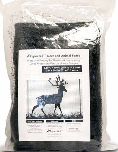 A close up vertical image of a package of deer and animal netting on a white background.