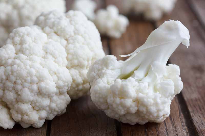 A close up horizontal image of freshly harvested cauliflower florets set on a wooden surface, pictured on a soft focus background.