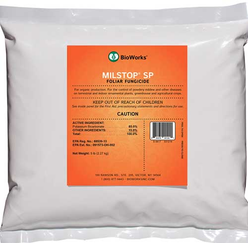 A close up of the packaging of MilStop, a foliar fungicide for plants.