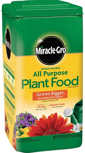 A close up vertical image of the packaging of Miracle Gro All Purpose Plant Food on a white background.