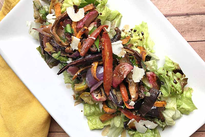 A close up horizontal image of a plate of roasted vegetables with sliced parmesan on the top, set on a wooden surface.