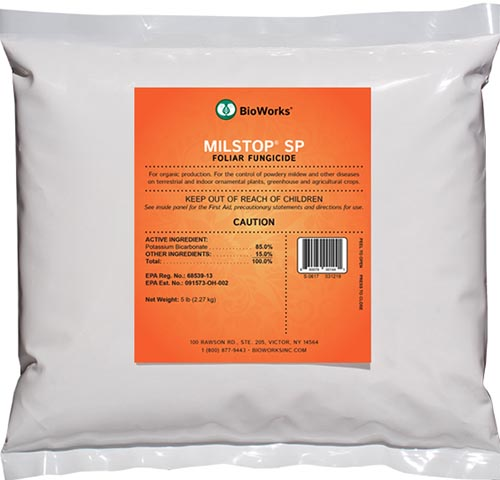 A close up square image of the packaging for MilStop Foliar Fungicide on a white background.