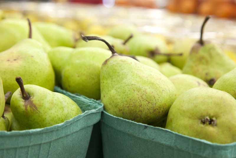 A close up horizontal image of punnets of ripe Pyrus communis at a farmers market, pictured on a soft focus background.