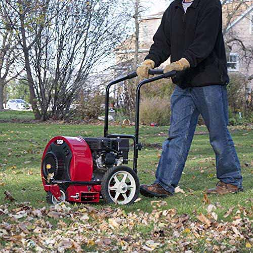 A square image of a person pushing a walk-behind Southland leaf blower across a lawn.