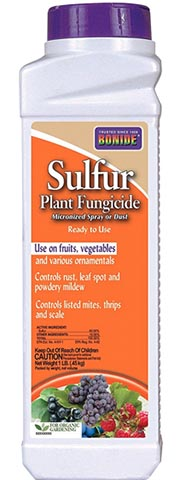 A close up vertical image of the packaging of Bonide Sulfur Plant Fungicide on a white background.
