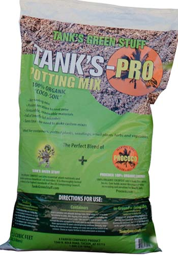 A close up vertical image of the packaging of Tank's-Pro Potting Mix.