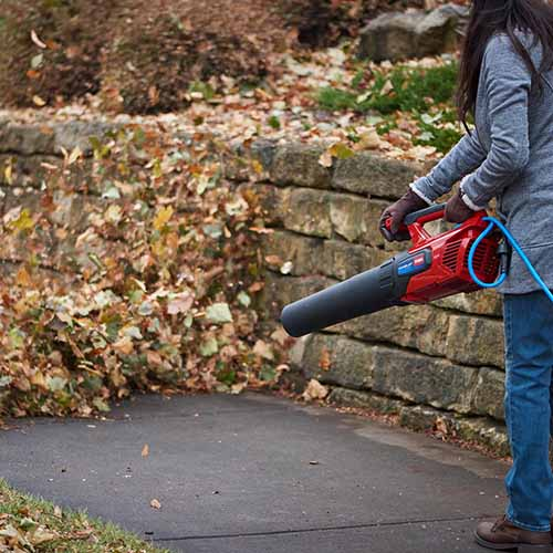 A close up of a woman clearing a pathway using the Toro handheld leaf blower.