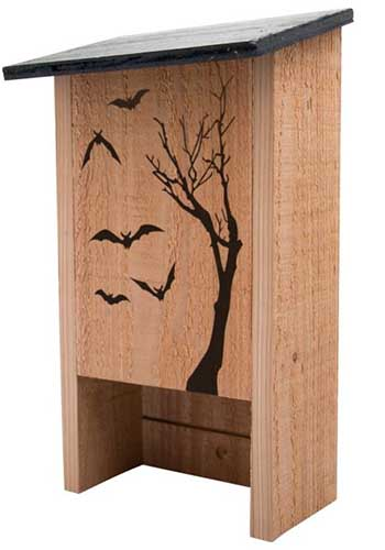 A close up vertical image of a wooden bat house with a silhouette pictured on the front, pictured on a white background.
