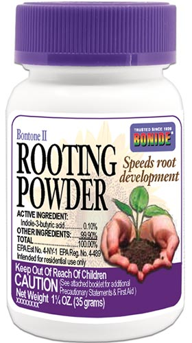 A close up vertical image of the packaging of Bonide powdered rooting hormone on a white background.