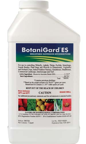 A close up square image of the packaging of BotaniGard ES on a white background.