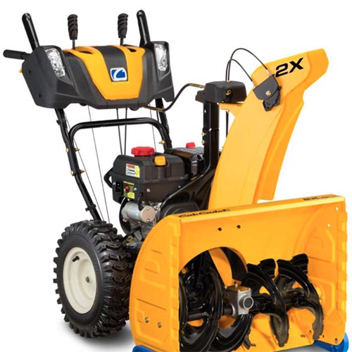 A close square image of the blue, yellow, and black Cub Cadet 2X 26 HP pictured on a white background.
