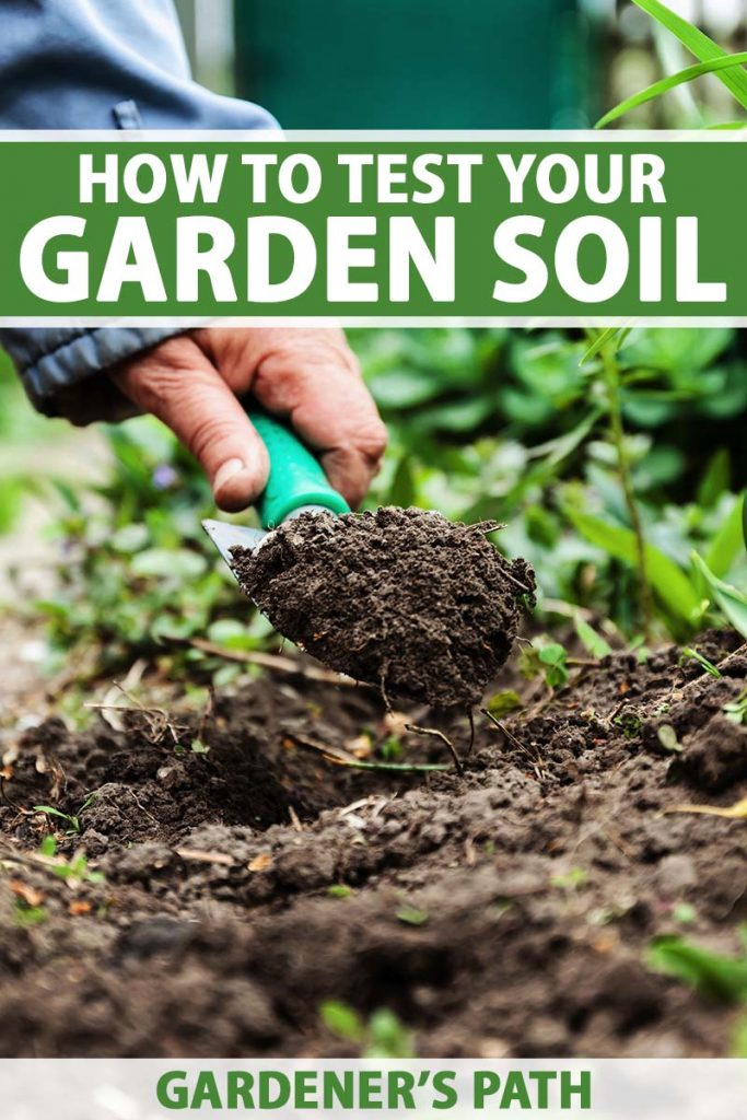 A close up vertical image of a hand from the left of the frame using a small trowel to scoop up some soil in the garden. To the top and bottom of the frame is green and white printed text.