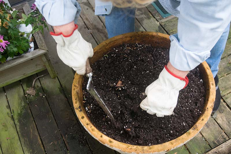 A close up horizontal image of a gardener with white gloves preparing a terra cotta pot for planting.