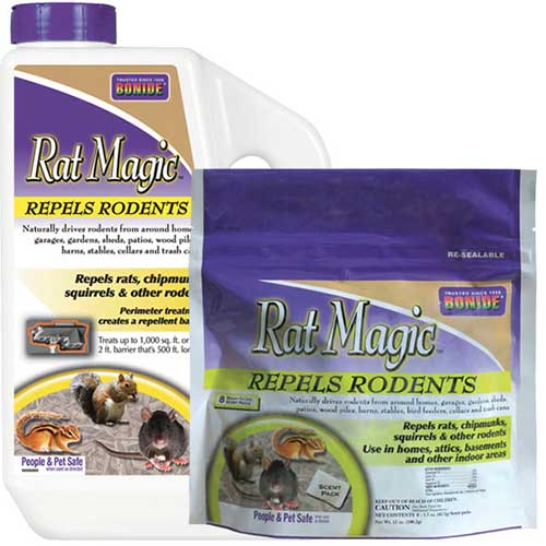 A close up square image of the packaging of Rat Magic rodent repellent on a white background.