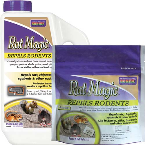 A close up square image of the packaging of Rat Magic, a rodent repellent pictured on a white background.