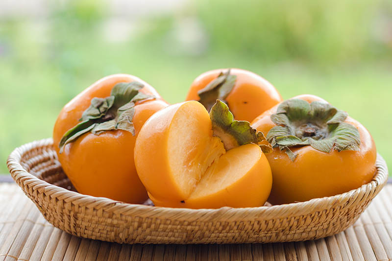 A close up horizontal image of a small wicker bowl containing freshly harvested Oriental persimmons set on a bamboo surface pictured on a soft focus background.