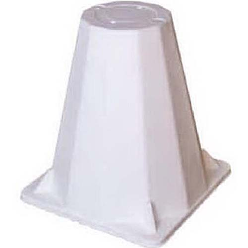 A close up square image of a white plastic cone for placing over plants to protect them from harsh winter weather.