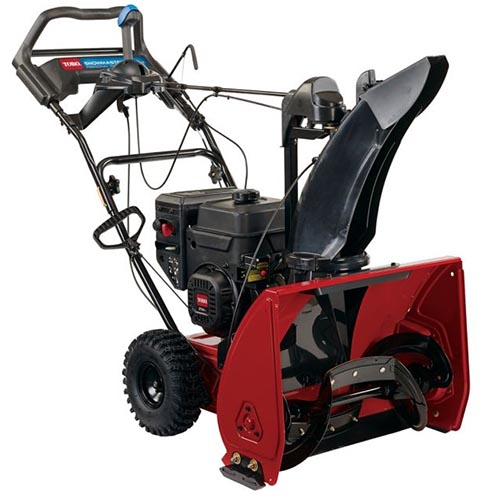 A close up square image of the red and black SnowMaster 824 QXE pictured on a white background.