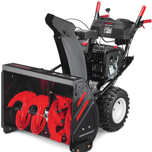 A close up vertical image of the Troy-Bilt Arctic Storm 30 pictured on a white background.