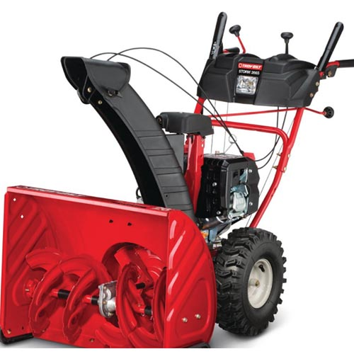 A close up square image of the red and black Troy-Bilt Storm 2665 pictured on a white background.