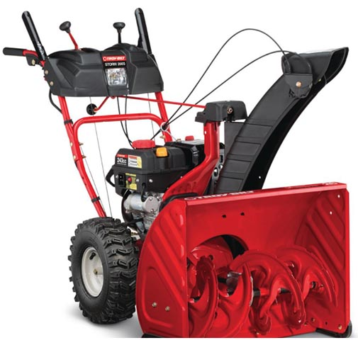 A close up square image of the black and red Troy-Bilt Storm 2665 unit on a white background.