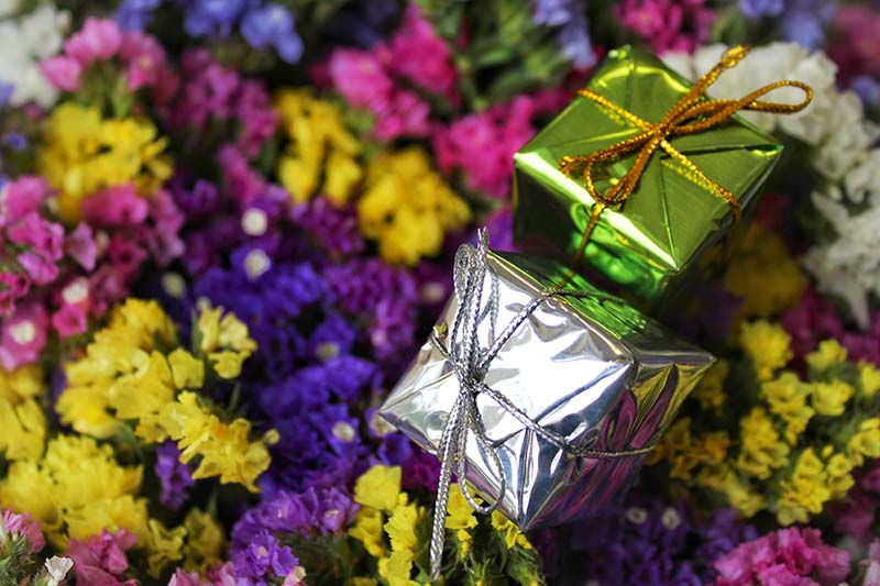 A close up horizontal image of two wrapped gifts set on dried colorful flowers.
