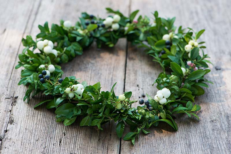 A close up horizontal image of a holiday wreath set on a wooden surface.