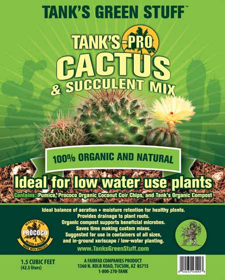 A close up vertical image of the packaging of Tank's-Pro Cactus and Succulent Mix.