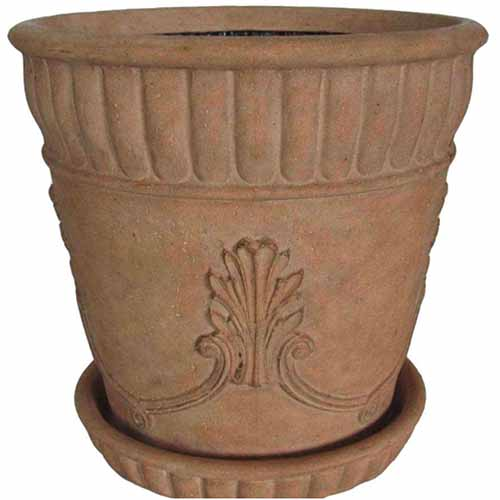 A close up square image of a large planting pot pictured on a white background.