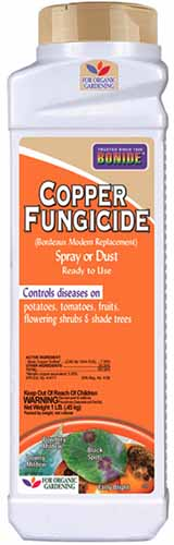A close up vertical image of the packaging of a plastic bottle of Bonide Copper Fungicide pictured on a white background.