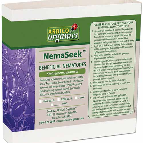 A close up square image of the packaging of NemaSeek, beneficial nematodes pictured on a white background.