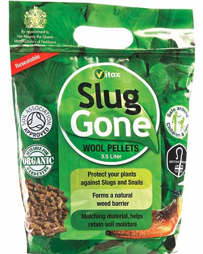 A close up square image of the packaging of Slug Gone, wool pellets for repelling slugs and snails.
