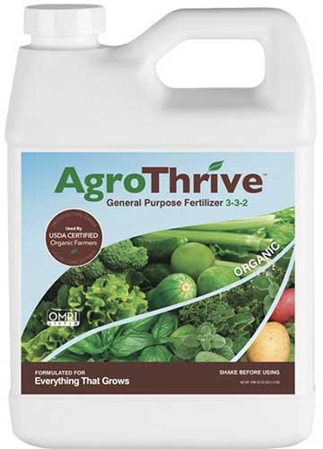 A close up square image of the packaging of AgroThrive General Purpose Fertilizer pictured on a white background.