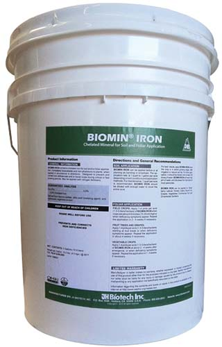 A close up vertical image of a white bucket of Biomin Iron pictured on a white background.
