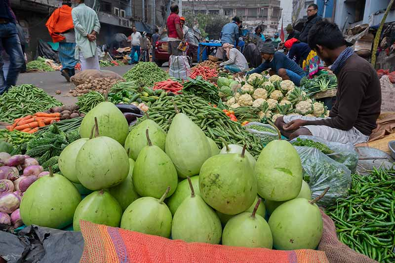 A horizontal image of a market selling a variety of fruits and vegetables on a busy street.