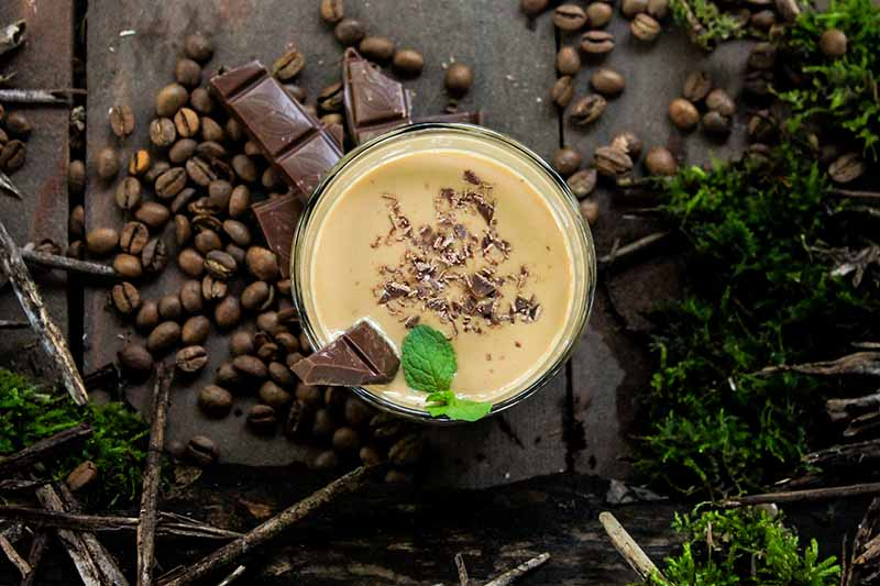 A close up horizontal image of a freshly made mocha cocktail with chocolate and mint set on a wooden surface surrounded by coffee beans.