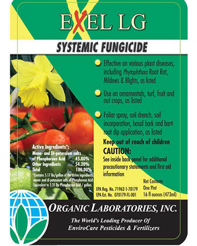 A close up square image of the packaging of Exel LG Systemic Fungicide.